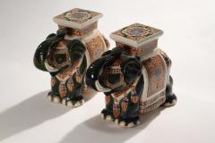 Pair of french hollywood regency Porcelain Elephant Decoration 1970s - 983436