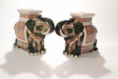 Pair of french hollywood regency Porcelain Elephant Decoration 1970s - 983437