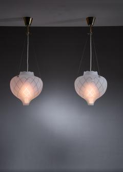 Pair of frosted glass pendants - 1376562