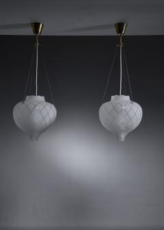 Pair of frosted glass pendants - 1376563