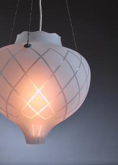 Pair of frosted glass pendants - 1376565