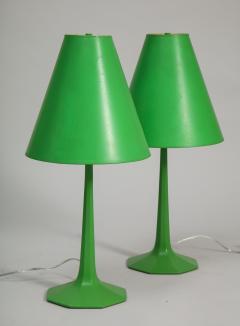 Pair of fun 1970s green lamps - 1388111