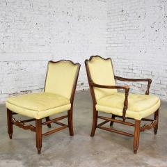 Pair of georgian revival his and hers accent chairs in golden yellow - 1682276