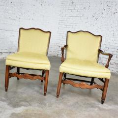 Pair of georgian revival his and hers accent chairs in golden yellow - 1682281
