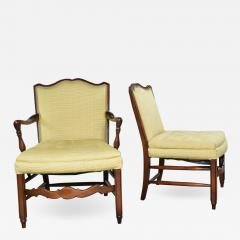 Pair of georgian revival his and hers accent chairs in golden yellow - 1683433