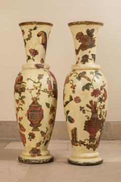 Pair of italian 18th century arte povera vases - 1850804