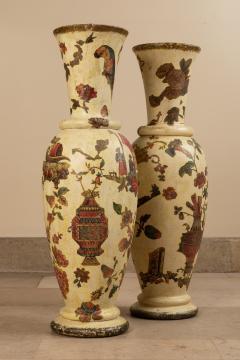 Pair of italian 18th century arte povera vases - 1850805