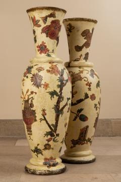 Pair of italian 18th century arte povera vases - 1850806