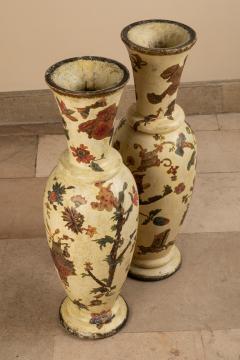 Pair of italian 18th century arte povera vases - 1850807