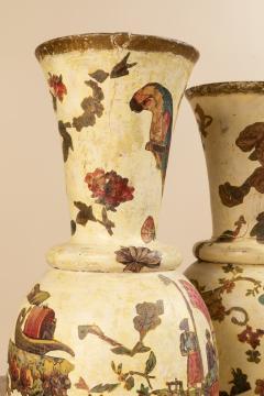 Pair of italian 18th century arte povera vases - 1850817