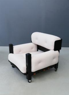 Pair of italian armchairs MidCentury in boucl fabric white and black wood 1960 - 1493123