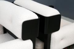 Pair of italian armchairs MidCentury in boucl fabric white and black wood 1960 - 1493126