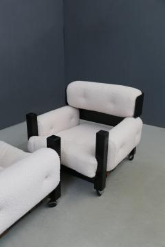 Pair of italian armchairs MidCentury in boucl fabric white and black wood 1960 - 1493128