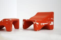 Pair of italian lounge chairs red and white by Cesare Augusto Nava 1970s - 1576339
