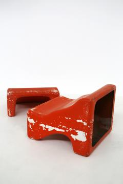 Pair of italian lounge chairs red and white by Cesare Augusto Nava 1970s - 1576349