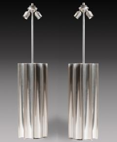 Pair of large 1970s stainless steel lamps - 909759