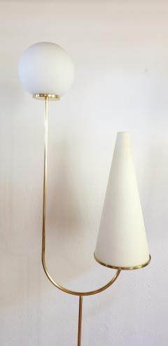 Pair of large Mid Century Modern marble brass glass floor lamps Italy 1960s - 1070931
