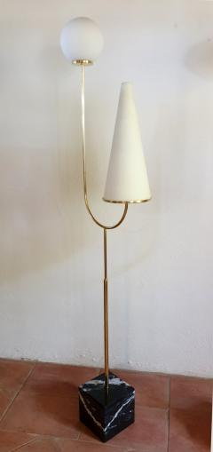 Pair of large Mid Century Modern marble brass glass floor lamps Italy 1960s - 1070941
