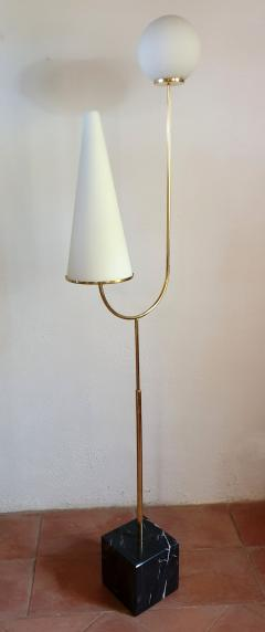 Pair of large Mid Century Modern marble brass glass floor lamps Italy 1960s - 1070943
