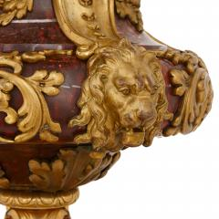 Pair of large gilt bronze and marble candelabra - 1243275