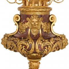 Pair of large gilt bronze and marble candelabra - 1243277