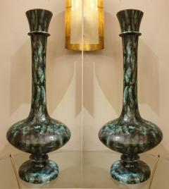 Pair of large green black ceramic vases Mid Century Modern Italy 1960s - 1317725
