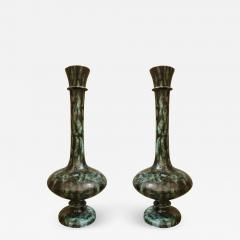 Pair of large green black ceramic vases Mid Century Modern Italy 1960s - 1319526