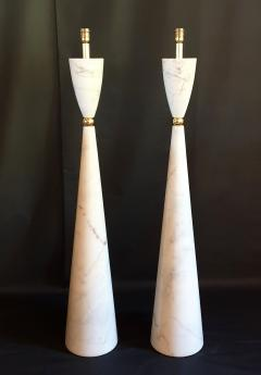Pair of large marble brass Mid Century Modern floor lamps Italy 1980s - 1049701