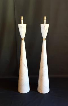 Pair of large marble brass Mid Century Modern floor lamps Italy 1980s - 1049704