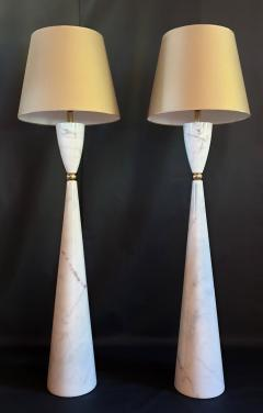 Pair of large marble brass Mid Century Modern floor lamps Italy 1980s - 1049751