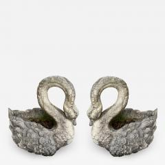 Pair of large planters Swan in cement - 2051418