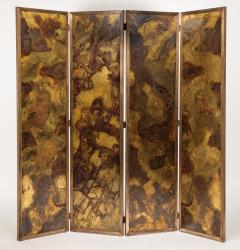 Pair of large screens with four leaves in brass oxidized brass and mirror - 1491547