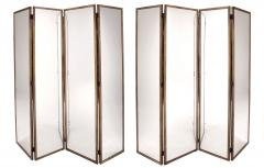Pair of large screens with four leaves in brass oxidized brass and mirror - 1491549