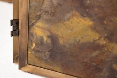 Pair of large screens with four leaves in brass oxidized brass and mirror - 1491550