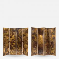 Pair of large screens with four leaves in brass oxidized brass and mirror - 1492741
