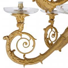 Pair of monumental gilt bronze and glass floor standing candelabra - 2013571
