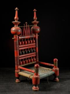 Pair of old Punjabi hand crafted wooden tribal Wedding Chairs - 1866990