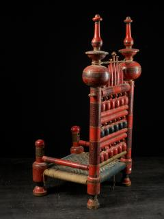 Pair of old Punjabi hand crafted wooden tribal Wedding Chairs - 1866992