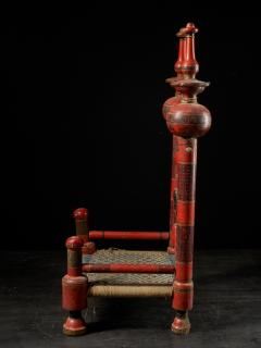 Pair of old Punjabi hand crafted wooden tribal Wedding Chairs - 1866993