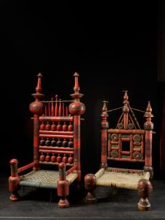 Pair of old Punjabi hand crafted wooden tribal Wedding Chairs - 1867008