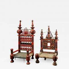 Pair of old Punjabi hand crafted wooden tribal Wedding Chairs - 1873410
