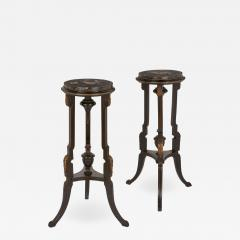 Pair of pietra dura topped circular occasional tables - 1628635
