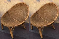 Pair of rattan oeuf shaped lounge chairs with brass leg end - 1033577