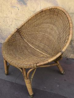 Pair of rattan oeuf shaped lounge chairs with brass leg end - 1033579
