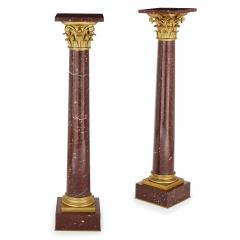 Pair of red marble and gilt bronze Corinthian columns - 1433240