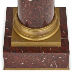 Pair of red marble and gilt bronze Corinthian columns - 1433242