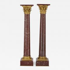 Pair of red marble and gilt bronze Corinthian columns - 1433447