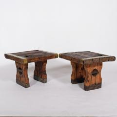 Pair of rustic side tables made of raw hatch boards - 1484950