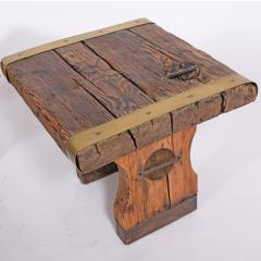 Pair of rustic side tables made of raw hatch boards - 1484951