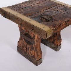 Pair of rustic side tables made of raw hatch boards - 1484952